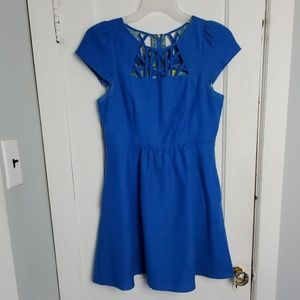 Maeve Anthropologie blue dress with pockets M.